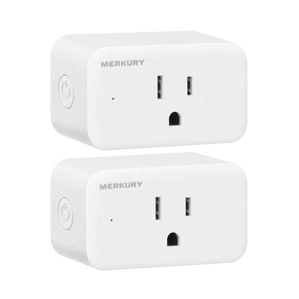 <p>Upgrade your household appliances and operate them from anywhere with the <span>Merkury Innovations Smart Plug</span> ($16 for 2). Operate your everyday electronics like the coffee machine, fan, or lamp from anywhere with the tap of a button. If you have a habit of leaving your straightener or curler on, with these smart plugs you can double check and turn them off instantly.</p>