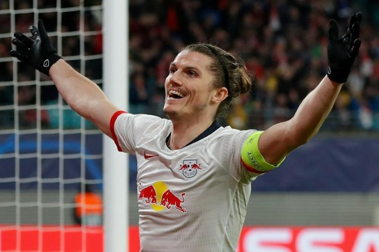 Marcel Sabitzer scored twice as Leipzig knocked Tottenham out of the Champions League (AFP Photo/Odd ANDERSEN)