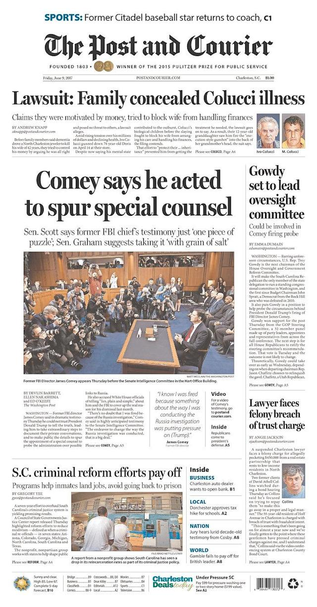"<p>""The Post and Courier,"" published in Charleston, S.C. (Newseum) </p>"