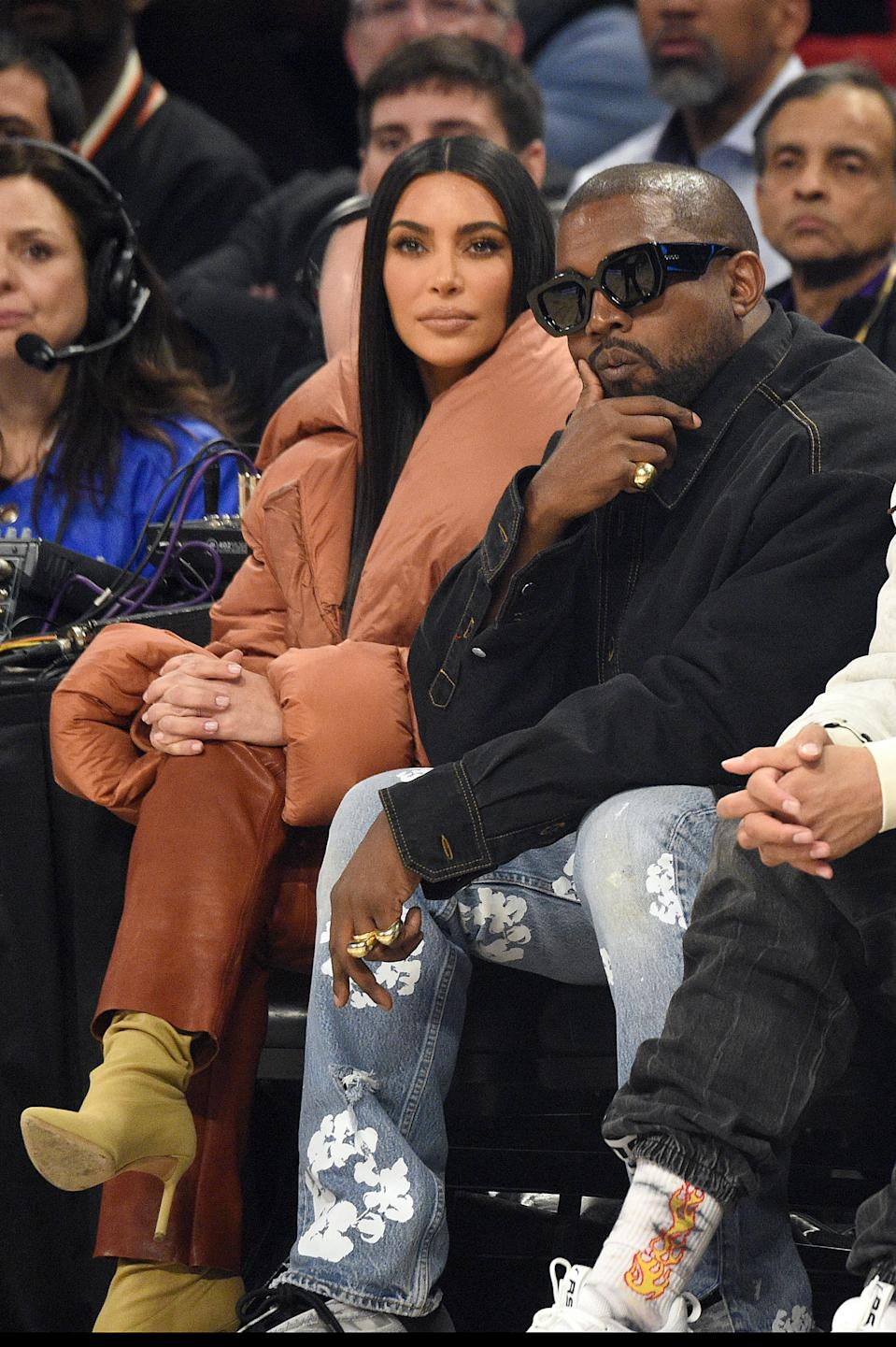 Kim Kardashian West (L) and Kanye West attend the 69th NBA All-Star Game at United Center on February 16, 2020 in Chicago, Illinois.