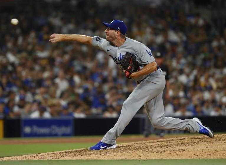 SAN DIEGO, CA - AUGUST 25: Los Angeles Dodgers Max Scherzer pitches against the San Diego Padres.