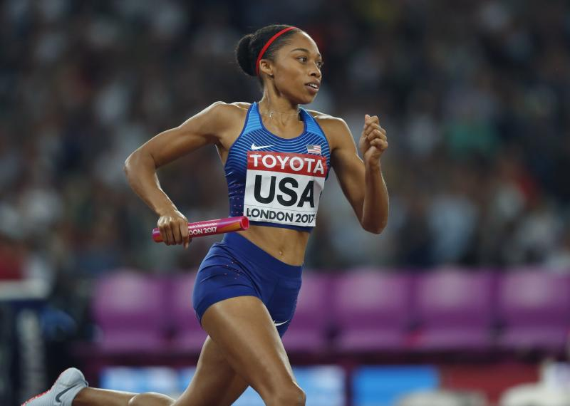 Six-time Olympic gold medalist Alyson Felix was among the athletes scheduled to attend the postponed Olympic summit. (AP Photo/Kirsty Wigglesworth)