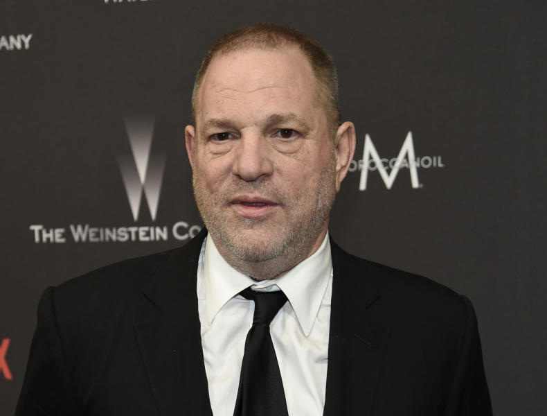 FILE - In this Jan. 8, 2017, file photo, Harvey Weinstein arrives at The Weinstein Company and Netflix Golden Globes afterparty in Beverly Hills, Calif. A television network has aired video of Harvey Weinstein fondling a woman who accused him of rape. The video aired Wednesday by Sky News was recorded by Melissa Thompson when she met Weinstein at his office in 2011. It shows Weinstein propositioning Thompson and caressing her shoulder during a business presentation. (Photo by Chris Pizzello/Invision/AP, File)