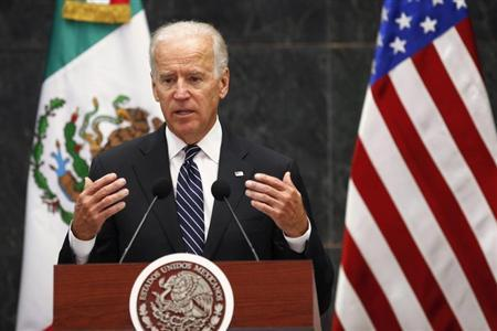 U.S. Vice President Biden speaks after a meeting with Mexico's President Pena Nieto in Mexico City