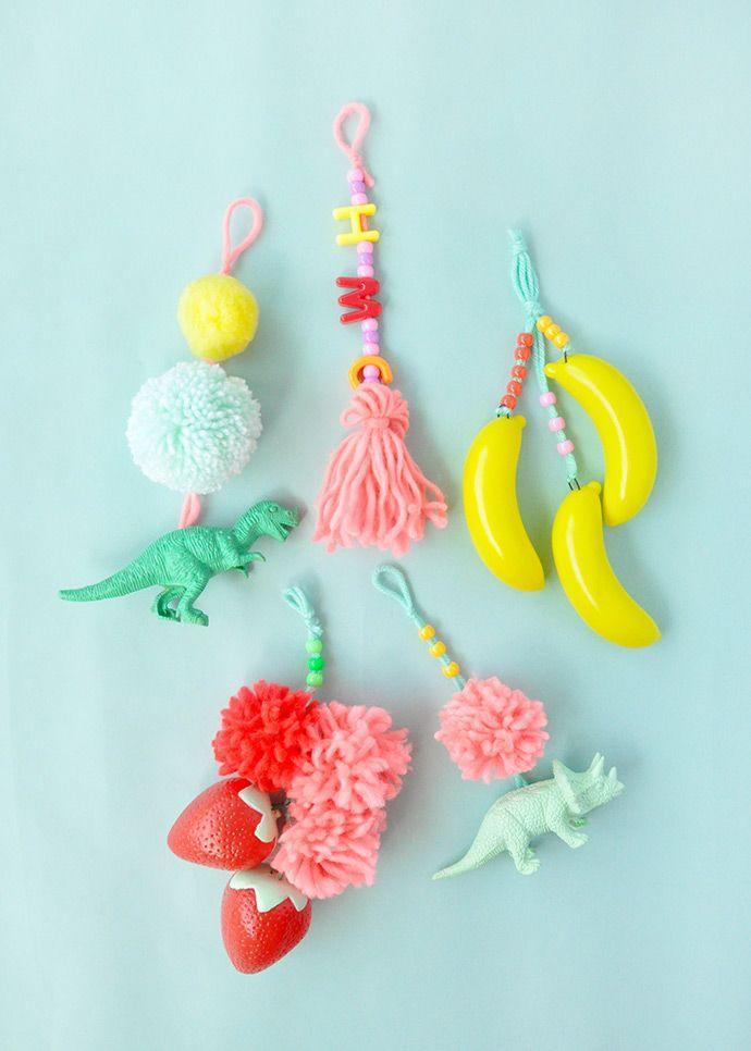 """<p>Beads, yarn and charms make for the perfect little something to add to a backpack. (Who doesn't love dinos?)</p><p><em><a href=""""https://www.handmadecharlotte.com/diy-luggage-tags/"""" rel=""""nofollow noopener"""" target=""""_blank"""" data-ylk=""""slk:Get the tutorial at Handmade Charlotte »"""" class=""""link rapid-noclick-resp"""">Get the tutorial at Handmade Charlotte »</a></em></p>"""