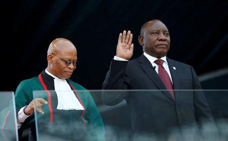 Ramaphosa takes the oath of office at his inauguation as South African president, at Loftus Versfeld stadium in Pretoria