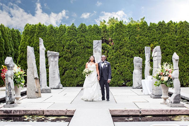"""Sharna Scott and Andrew Haze married at Grounds for Sculpture in New Jersey."" -- <i>Nana Annan </i>"