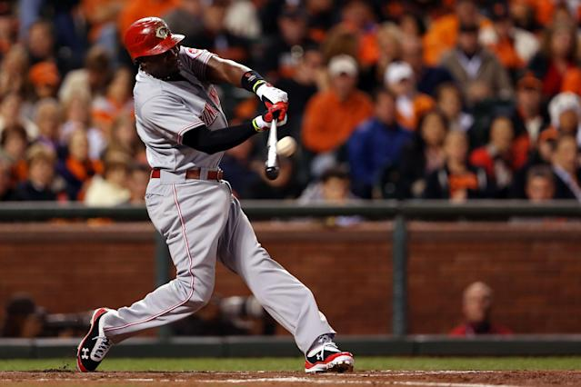 SAN FRANCISCO, CA - OCTOBER 06: Brandon Phillips #4 of the Cincinnati Reds hits a two run home run in the third inning against the San Francisco Giants during Game One of the National League Division Series at AT&T Park on October 6, 2012 in San Francisco, California. (Photo by Jeff Gross/Getty Images)