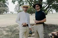 Clément and his friend Francisco enjoying a last glass of Catena Zapata Champagne, one of the oldest vineyards of Argentina.