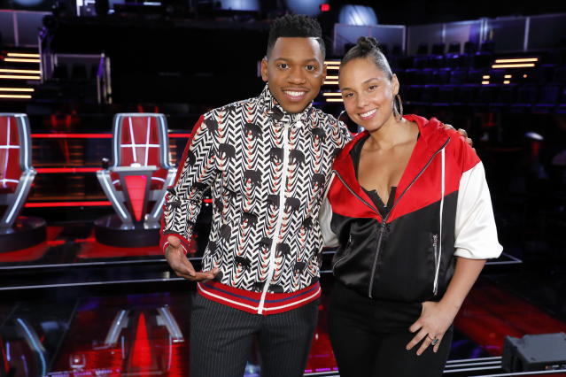 Chris Blue with Alicia Keys. (Photo: NBC)