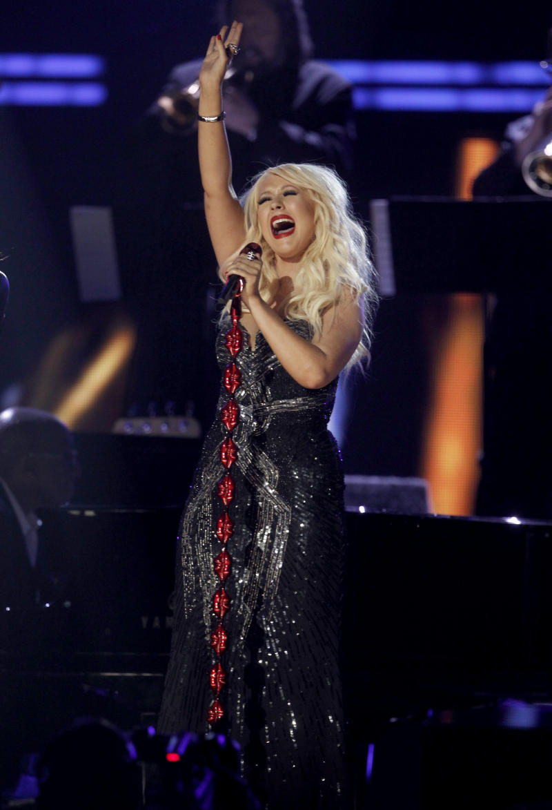 Christina Aguilera performs onstage at the 53rd annual Grammy Awards on Sunday, Feb. 13, 2011, in Los Angeles. (AP Photo/Matt Sayles)
