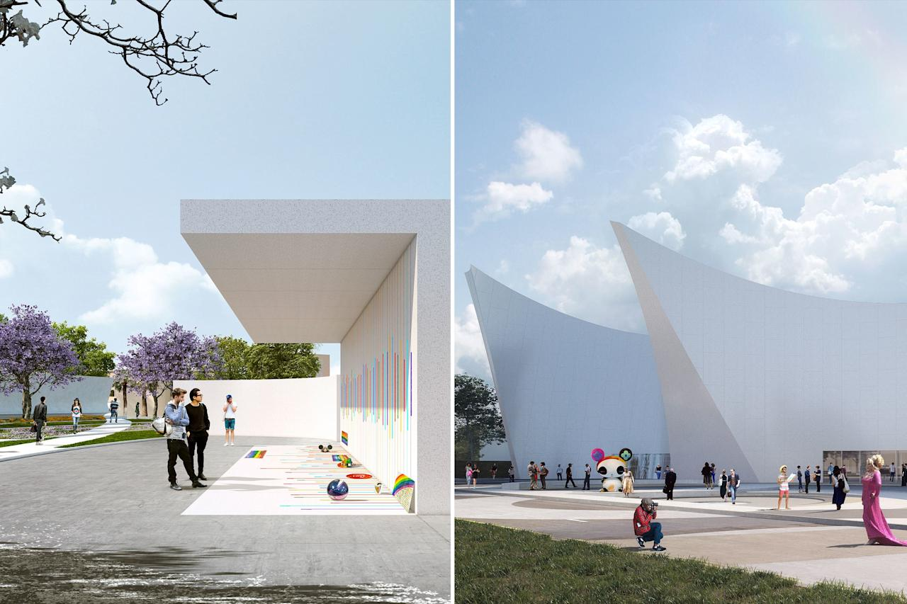 """The seven sections of Heneghan Peng Architects's memorial represent the seven colors of the rainbow. The sections create a shared space, """"honoring and protecting the 49 angels,"""" the firm writes. The structure """"resonates with the energy of the nightclub"""" by including curves and walls tilting upwards to provide shade for visitors."""