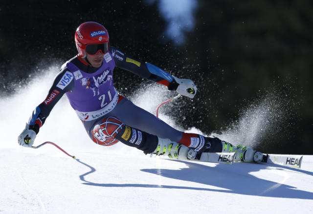 CORRECT SPELLLING OF LAST NAME TO MILLER, NOT MILER AS ORIGINALLY SENT - Bode Miller, of the United States, speeds down the course on his way to take third place in a men's alpine skiing Super-G at the World Cup finals in Lenzerheide, Switzerland, Thursday, March 13, 2014. (AP Photo/Shinichiro Tanaka)