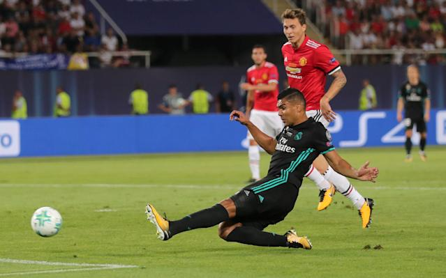 Soccer Football - Real Madrid v Manchester United - Super Cup Final - Skopje, Macedonia - August 8, 2017 Real Madrid's Casemiro scores their first goal REUTERS/Eddie Keogh TPX IMAGES OF THE DAY