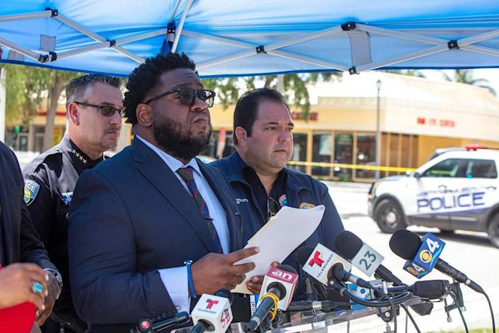 City Manager Arthur H. Sorey III speaks at a press conference at the Crestview Towers Condominium in North Miami Beach on Thursday, July 8, 2021, about the building, which was closed and evacuated last week. Residents will get a brief opportunity to retrieve essential items on Friday — with a police officer as escort.