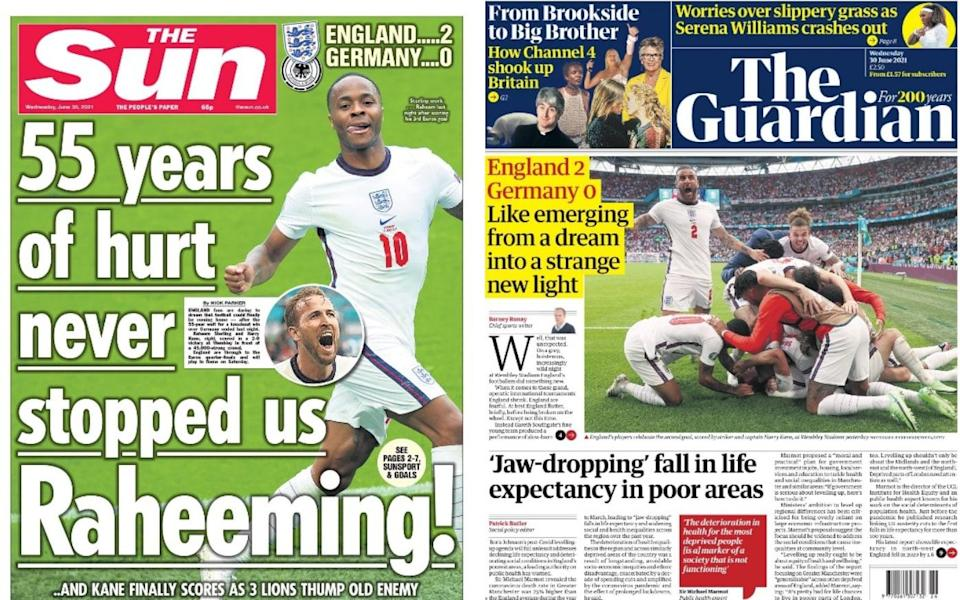 The Sun and The Guardian saluted England's historic win