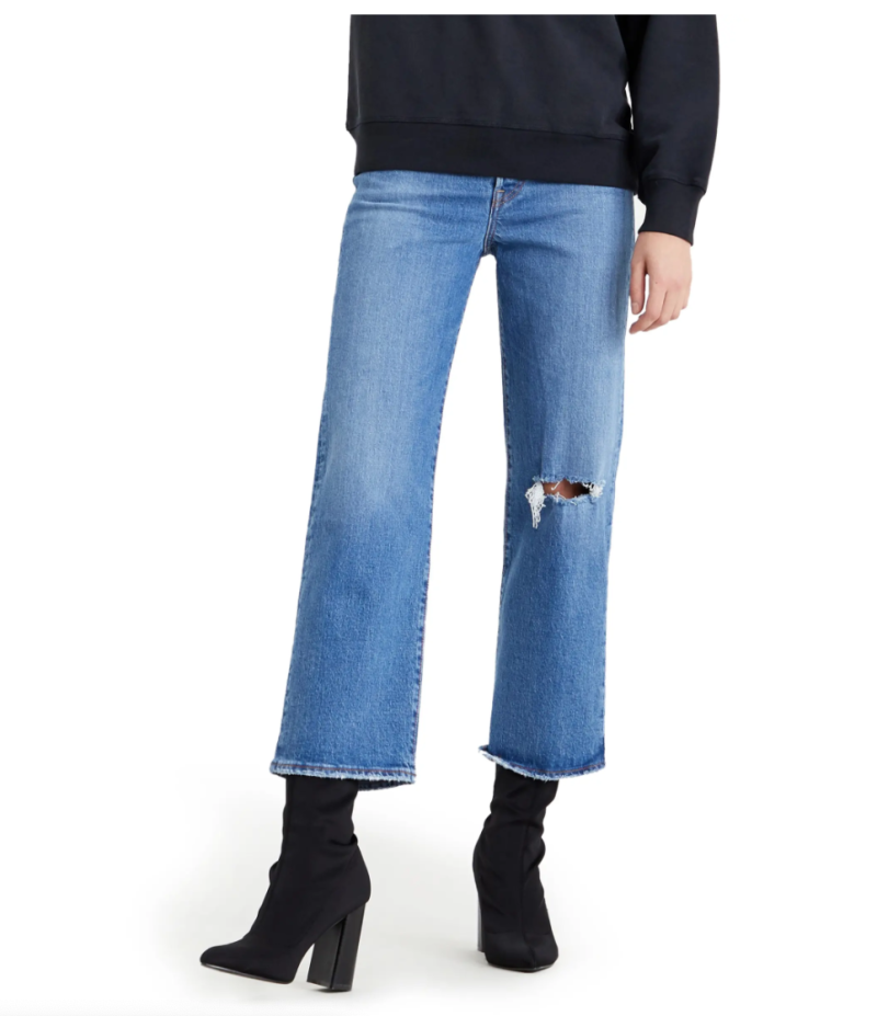 Levi's Ribcage Ripped High Waist Ankle Straight Leg Jeans. Image via Nordstrom.