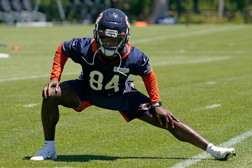 Chicago Bears wide receiver Marquise Goodwin stretches during practice in Lake Forest on Wednesday, June 16, 2021.