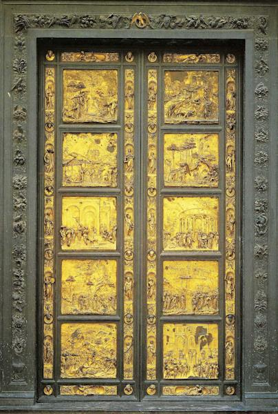 "In this undated photo provided by the Opera di Santa Maria del Fiore, a copy of the original panel of the ""Door of Paradise"" is seen in Florence, Italy. The original gilded bronze door, so splendid it was dubbed the ""Door of Paradise"" by Michelangelo, will be seen again in Florence after 27 years of restoration to remove damage by pollution, vandalism and the wear and tear of centuries. But Lorenzo Ghiberti's 15th-century door won't be going back in its place on the baptistry of Florence's duomo, or cathedral. Starting in September, it will go on display in a Florence museum, Museo dell'Opera di Santa Maria del Fiore, to preserve it from renewed damage. (AP Photo/Opera di Santa Maria del Fiore)"