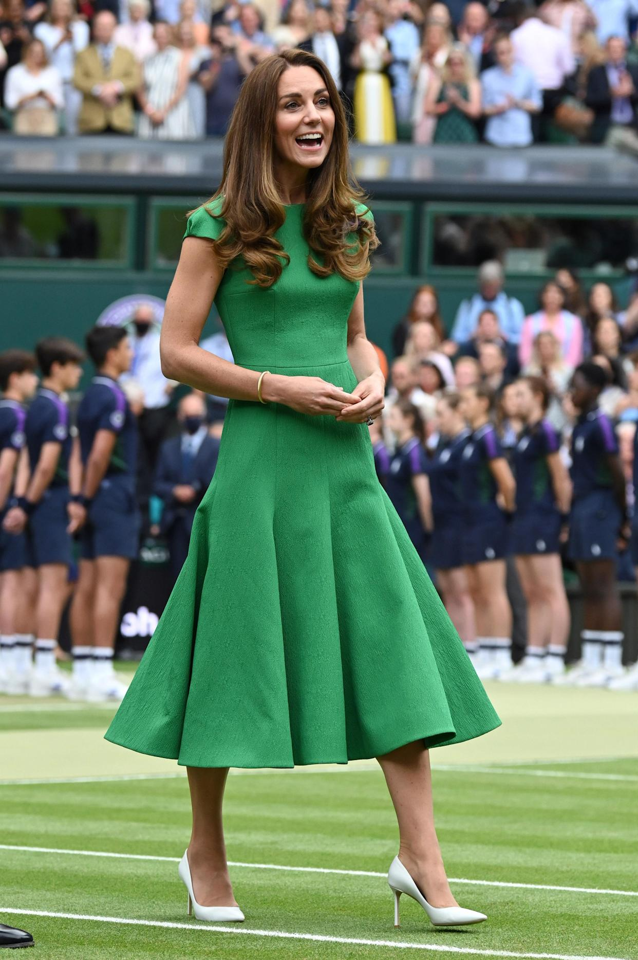 The Duchess of Cambridge wore an Emilia Wickstead dress and Jimmy Choo heels. (Getty Images)