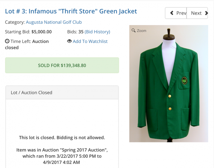 Masters green jacket sells for six figures at auction