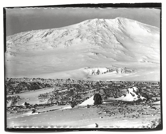 """Mount Erebus from the Ramp, Cape Evans, October, 1911.<br><br>(Photo credit: ©2011 Richard Kossow)<br><br>For more information on """"The Lost Photographs of Captain Scott"""" and where to buy the book, visit <a href=""""http://www.hachettebookgroup.com/books_9780316178501.htm"""" rel=""""nofollow noopener"""" target=""""_blank"""" data-ylk=""""slk:hachettebookgroup.com"""" class=""""link rapid-noclick-resp"""">hachettebookgroup.com</a>"""