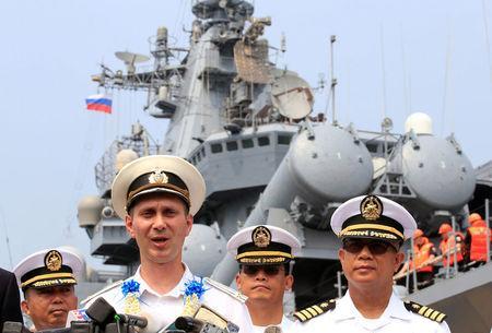 Russian Navy Commanding Officer Capt. Alexsei Ulyanenko of guided missile cruiser Varyag, answers questions during news briefing upon their arrival in Manila