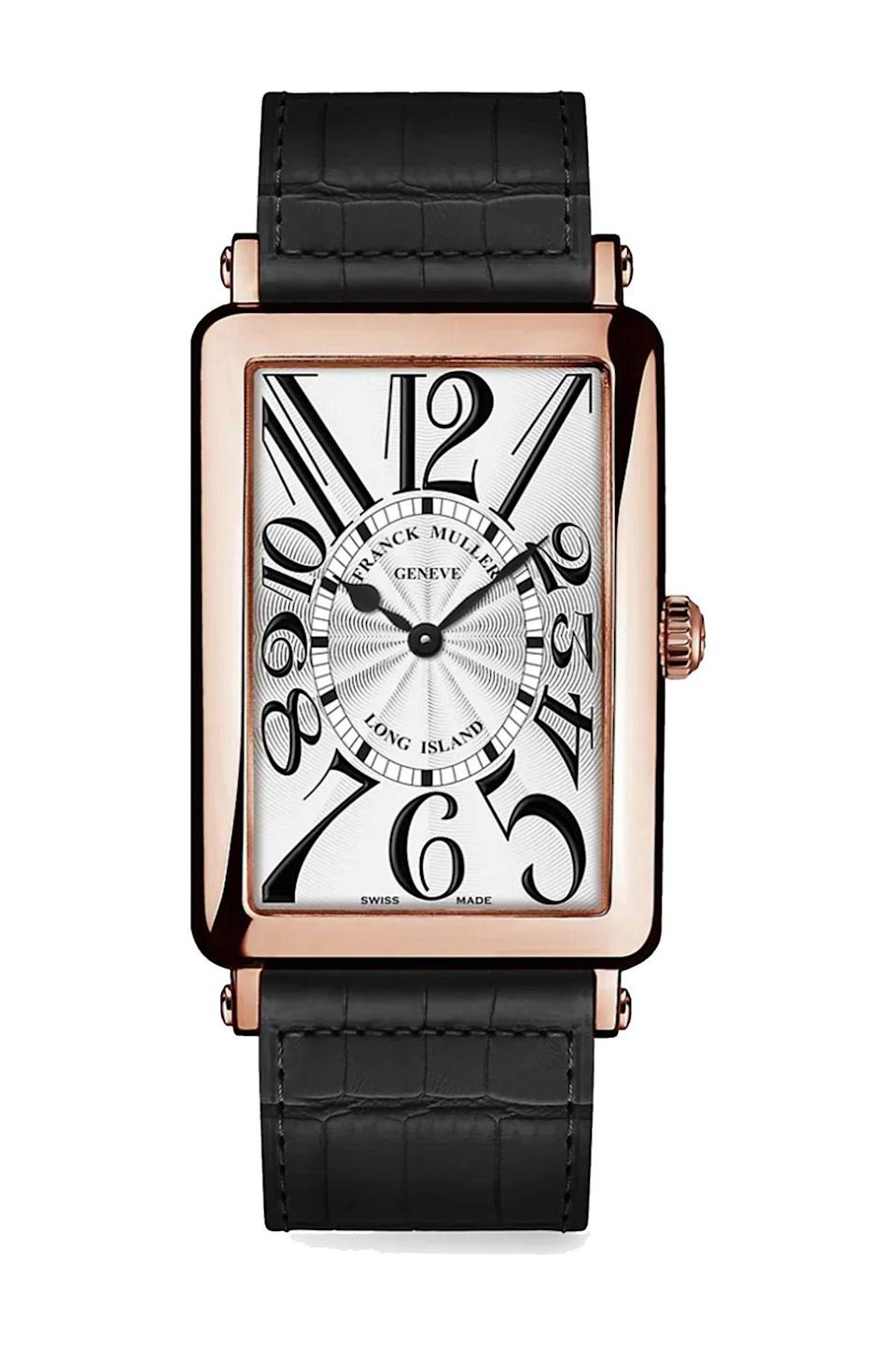 """<p><strong>Franck Muller</strong></p><p>saksfifthavenue.com</p><p><strong>$12800.00</strong></p><p><a href=""""https://go.redirectingat.com?id=74968X1596630&url=https%3A%2F%2Fwww.saksfifthavenue.com%2Fproduct%2Ffranck-muller-long-island-rose-gold--amp--alligator-strap-watch-0400099449032.html%3Fdwvar_0400099449032_color%3DBLACK&sref=https%3A%2F%2Fwww.townandcountrymag.com%2Fstyle%2Fjewelry-and-watches%2Fg36186288%2Fbest-rose-gold-watches-women%2F"""" rel=""""nofollow noopener"""" target=""""_blank"""" data-ylk=""""slk:Shop Now"""" class=""""link rapid-noclick-resp"""">Shop Now</a></p><p>A classic watch shape with whimsical hour markers, for just a hint of fun.</p>"""