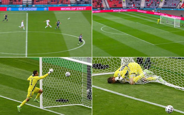 David Marshall lies down in net - Patrik Schick's lob goal over David Marshall – a Scotland tragedy in five acts