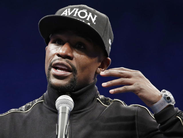 Floyd Mayweather Jr. speaks at a news conference after a super welterweight boxing match against Conor McGregor, Sunday, Aug. 27, 2017, in Las Vegas. (AP)