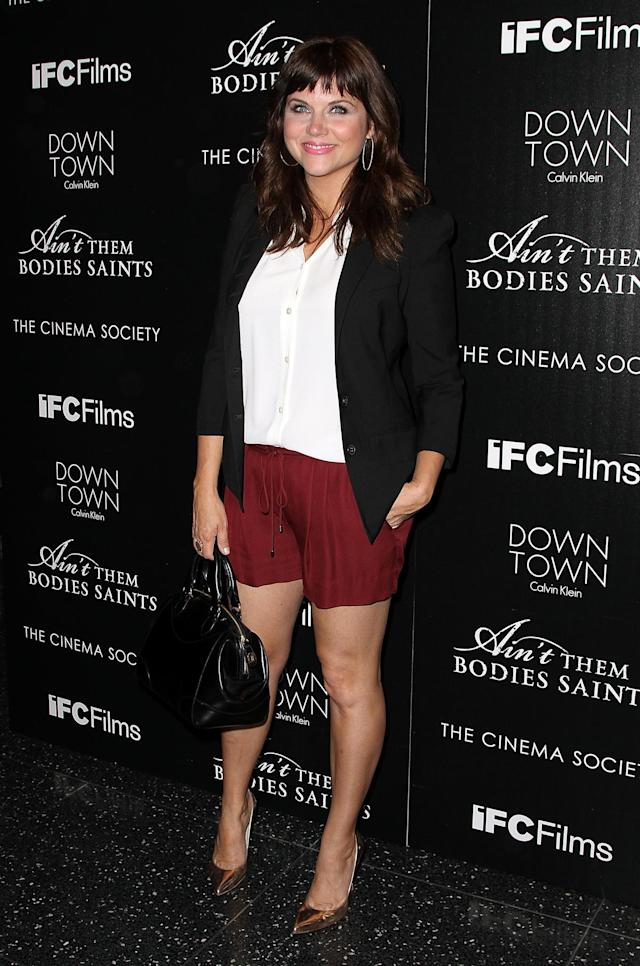 """NEW YORK, NY - AUGUST 13: Actress Tiffani Thiessen attends the Downtown Calvin Klein with The Cinema Society screening of IFC Films' """"Ain't Them Bodies Saints"""" at The Museum of Modern Art on August 13, 2013 in New York City. (Photo by Monica Schipper/FilmMagic)"""
