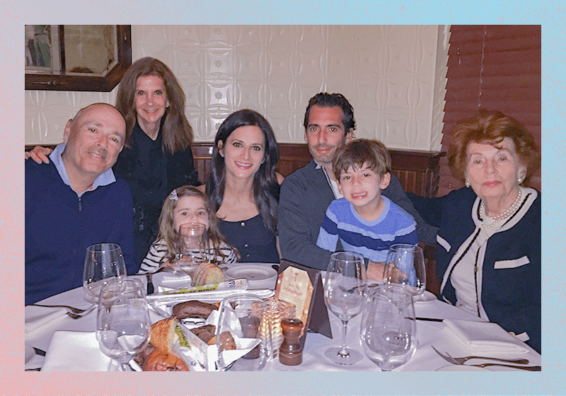 Four generations: Guttman's parents George and Ellie (left), Guttman with his wife and kids, Guttman's grandmother Terry, widow of Leslie, celebrating Guttman's 38th birthday in December 2017, Bay Harbor, Florida. Growing up, Guttman always celebrated his birthday with his grandparents and the tradition continues today.