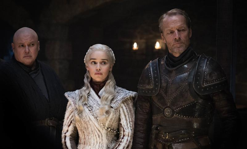 Conleth Hill as Varys, Emilia Clarke as Daenerys Targaryen and Iain Glen as Jorah Mormont in <i>Game of Thrones</i>. (Photo: Helen Sloan/HBO)