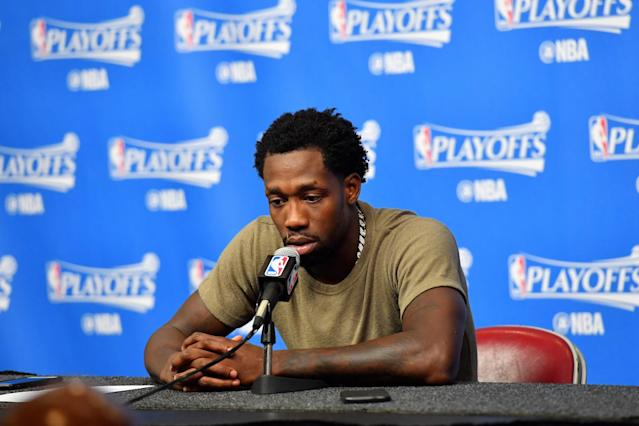 Patrick Beverley addresses the media after Game 4. (Getty)