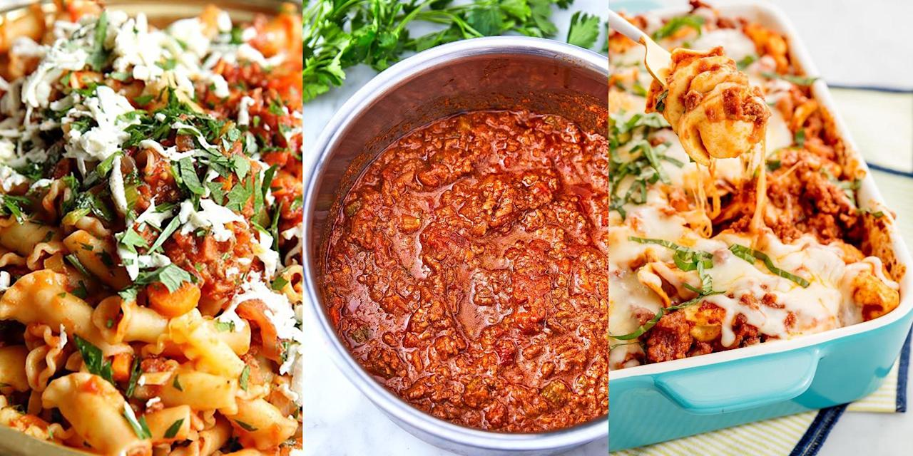 """<p>Where do we even start? <a href=""""https://www.delish.com/uk/food-news/a29856500/bolognese-ingredients/"""" target=""""_blank"""">Bolognese</a> is one of those meals that you never get bored of. You could have it three days straight and still crave the stuff the following night. It's wholesome and packed with everything you need. And the best part is that it can be made in so many different ways. You can even make a big <a href=""""https://www.delish.com/uk/cooking/recipes/g31665635/batch-cooking-recipes/"""" target=""""_blank"""">batch</a> and have it for <a href=""""https://www.delish.com/uk/cooking/recipes/g29890570/healthy-lunch-ideas/"""" target=""""_blank"""">lunch</a> the next day. Check out our favourite <a href=""""https://www.delish.com/uk/food-news/a29856500/bolognese-ingredients/"""" target=""""_blank"""">bolognese</a> recipes! </p>"""