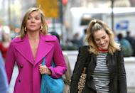 """<p>More than a year after her last official remarks on the drama, Cattrall reflected on <em>SATC </em>for a <em><a href=""""https://www.latimes.com/entertainment-arts/tv/story/2020-09-21/kim-cattrall-filthy-rich-fox-sex-and-the-city"""" rel=""""nofollow noopener"""" target=""""_blank"""" data-ylk=""""slk:Los Angeles Times"""" class=""""link rapid-noclick-resp"""">Los Angeles Times</a> </em>profile. """"I don't think anybody really knew what it would become, or how it would be at that moment [part of the] zeitgeist—to open up doors…for women to express themselves in a very honest, forthright way about how they felt about sexuality, or how they even interacted with their girlfriends in a real way,"""" she said.</p><p>However, Cattrall admitted she """"was being cast as a character of a certain likeness to Samantha"""" as her career went on and was plagued by the feud with SJP. She declined to comment further on their drama, instead offering: """"Everything is on Google, so I encourage you to Google it, about anything that I've said. I feel that that was then, and when I look at what's going on around me, I just don't have any regrets.""""</p>"""
