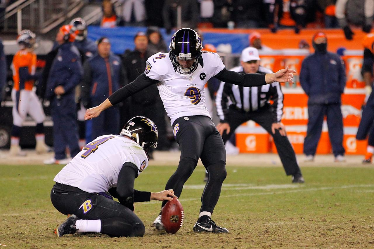 DENVER, CO - JANUARY 12:  Justin Tucker #9 of the Baltimore Ravens kicks a successful 47-yard game-winning field goal in the second overtime to win 38-35 against the Denver Broncos during the AFC Divisional Playoff Game at Sports Authority Field at Mile High on January 12, 2013 in Denver, Colorado.  (Photo by Doug Pensinger/Getty Images)