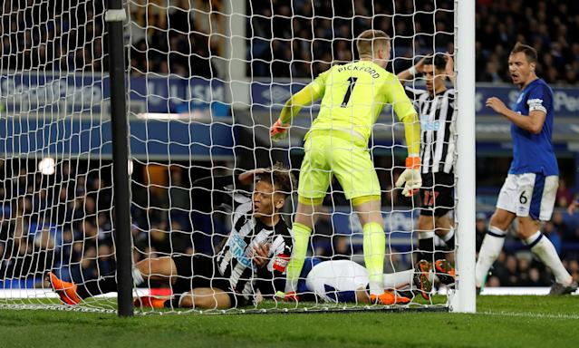 """Soccer Football - Premier League - Everton v Newcastle United - Goodison Park, Liverpool, Britain - April 23, 2018 Newcastle United's Dwight Gayle reacts Action Images via Reuters/Lee Smith EDITORIAL USE ONLY. No use with unauthorized audio, video, data, fixture lists, club/league logos or """"live"""" services. Online in-match use limited to 75 images, no video emulation. No use in betting, games or single club/league/player publications. Please contact your account representative for further details."""