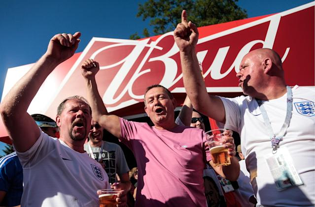 England fans enjoying a beer out in Russia.