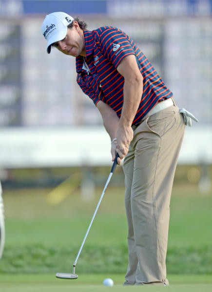 Rory McIlroy of Northern Ireland putts during the Pro-Am for The Barclays golf tournament at Bethpage State Park in Farmingdale, N.Y., Wednesday, Aug. 22, 2012. (AP Photos/Henny Ray Abrams)
