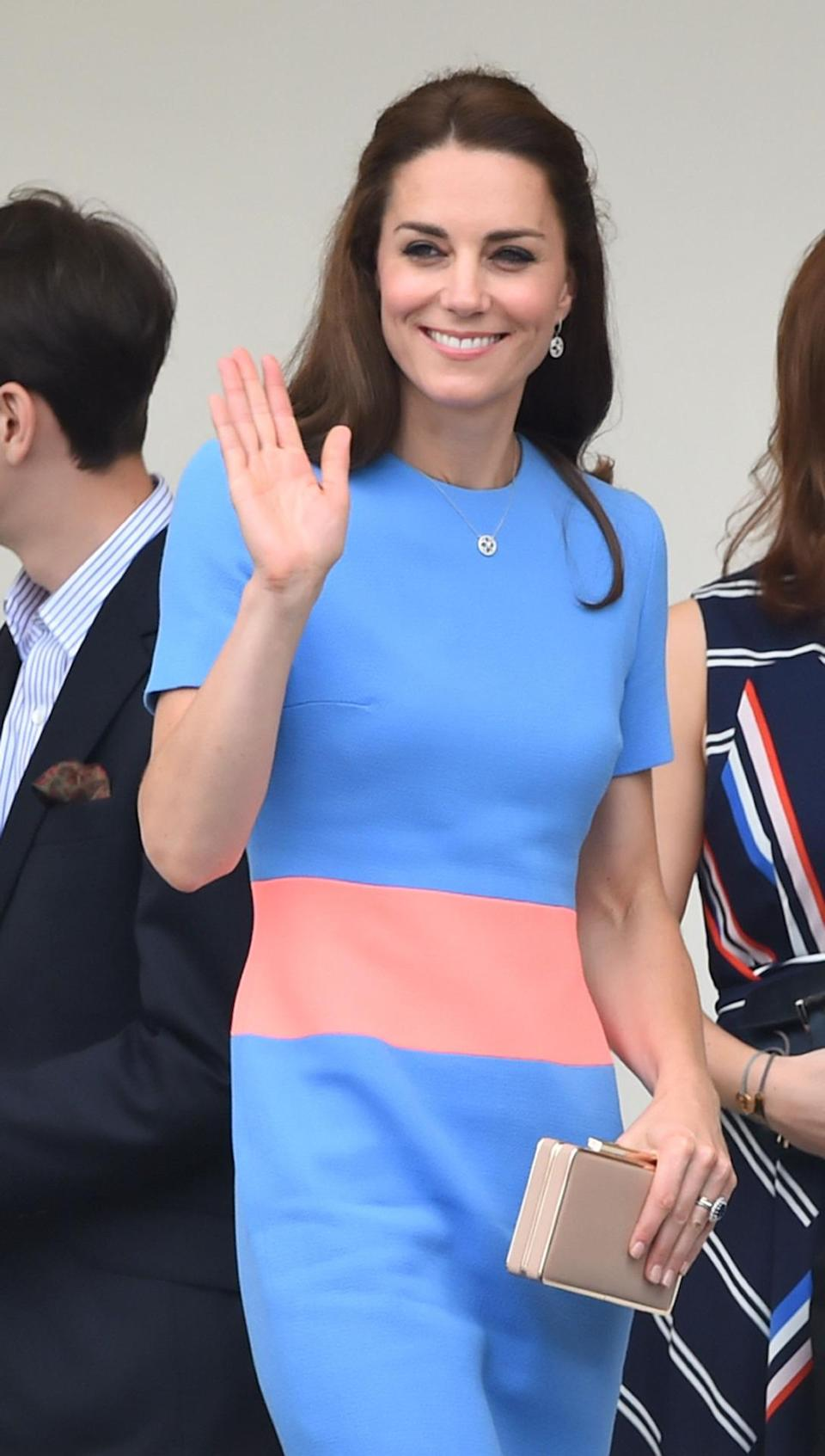 <p>Kate's colour block Roksanda Ilincic dress turned heads at the Patron's Lunch in honour of the Queen's 90th birthday. In shades of blue, sorbet and blush, the Duchess opted for a nude clutch and heels - both from her trusted L.K. Bennett.</p><p><i>[Photo: PA]</i></p>