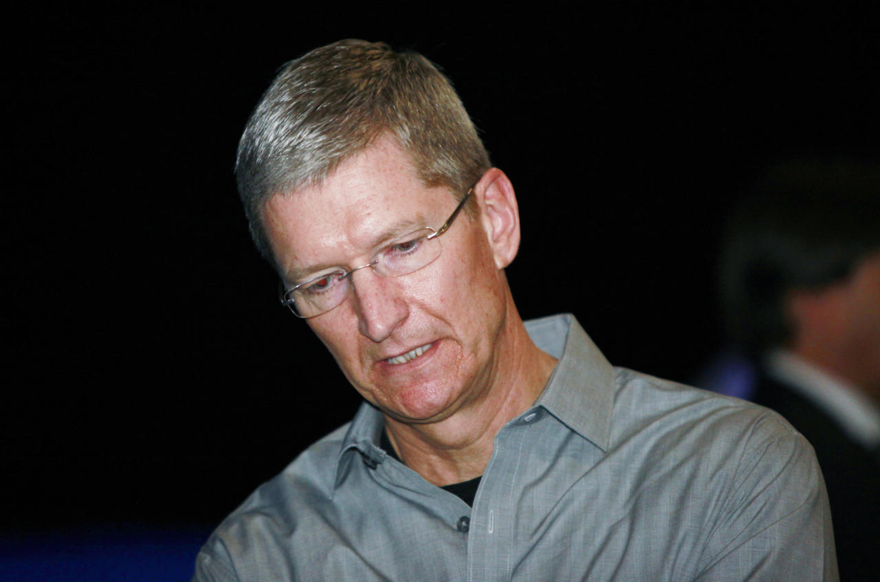 In this June 7, 2010 photo shows Apple Tim Cook at the Apple Worldwide Developers Conference in San Francisco. Cook takes over as CEO for Apple after Steve Jobs resigned. (AP Photo/Paul Sakuma)