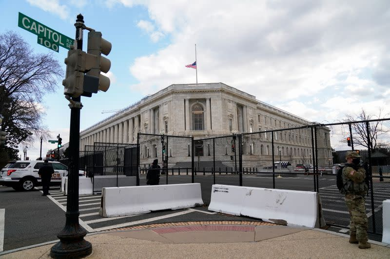 The Cannon House Office Building is seen behind security fencing ahead of presidential inaugural events on Capitol Hill in Washington