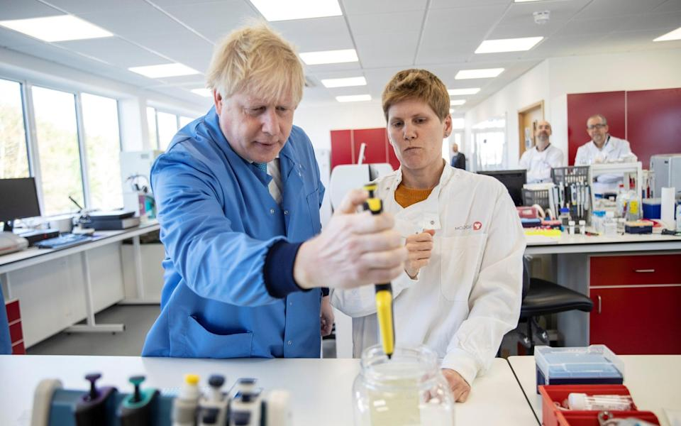 Prime Minister Boris Johnson visited the Mologic Laboratory in Bedford on the eve of the pandemic on March 6, 2020 - Jack Hill/REUTERS