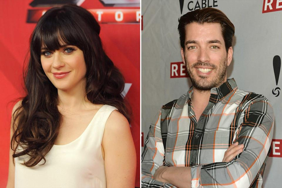 "The actress and <em>Property Brothers</em> star Scott are officially an item, a source confirmed to PEOPLE on Sept. 13. ""It's new, but they are having a lot of fun together,"" a source told PEOPLE. Another source close to Scott said they met shooting an episode of <a href=""https://www.instagram.com/p/B0wy9fBgWQR/?utm_source=ig_embed"" rel=""nofollow noopener"" target=""_blank"" data-ylk=""slk:Carpool Karaoke"" class=""link rapid-noclick-resp""><em>Carpool Karaoke</em></a>. Deschanel and Scott were first romantically linked shortly after Deschanel <a href=""https://people.com/tv/zooey-deschanel-jacob-pechenik-split/"" rel=""nofollow noopener"" target=""_blank"" data-ylk=""slk:announced her split"" class=""link rapid-noclick-resp"">announced her split</a> from husband Jacob Pechenik. A week after Deschanel and Pechenik released a joint statement, saying they are ""better off as friends,"" the actress was spotted holding hands with Scott. In photos obtained by <a href=""https://hollywoodlife.com/2019/09/13/zooey-deschanel-jonathan-scott-dating-pda-photos/"" rel=""nofollow noopener"" target=""_blank"" data-ylk=""slk:HollywoodLife"" class=""link rapid-noclick-resp"">HollywoodLife</a>, Deschanel and the <em>HGTV</em> star showed off PDA as they arrived at Little Dom's restaurant in Silver Lake, California on Friday, Sept. 13."