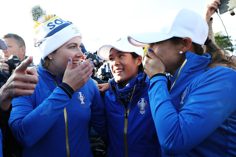 Caroline Masson, Celine Boutier and Azahara Munoz celebrate Europe's dramatic Solheim Cup victory at Gleneagles