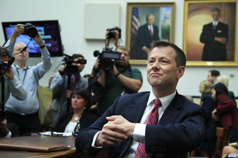 """FBI Deputy Assistant Director Peter Strzok, waits for the start of a joint hearing on """"oversight of FBI and Department of Justice actions surrounding the 2016 election"""" on Capitol Hill in Washington on July 12, 2018. (Manuel Balce Ceneta/AP)"""