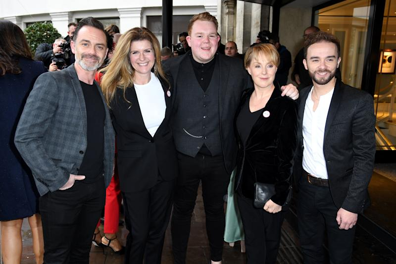 Members of the cast of Coronation Street (left to right: Dan Brocklebank, Connie Hyde, Colson Smith, Sally Dyvenor, Jack P. Shepard attending the TRIC Awards 50th Birthday held at The Grosvenor House Hotel, London. Picture Credit Should Read: Doug Peters/EMPICS