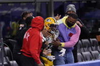 Green Bay Packers' Aaron Jones (33) celebrates a touchdown run during the first half of an NFL football game against the Indianapolis Colts, Sunday, Nov. 22, 2020, in Indianapolis. (AP Photo/AJ Mast)