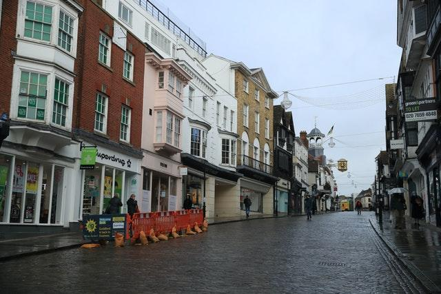 The deserted High Street in Guildford, Surrey